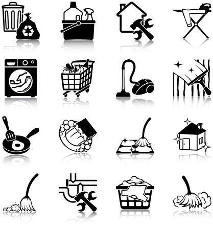 cesto basura: Iconos de limpieza Vectores