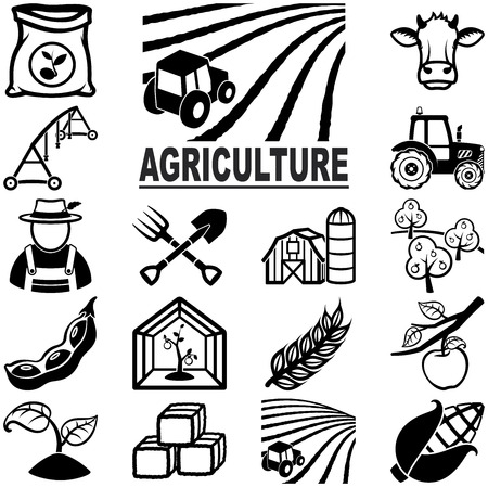 Agriculture related vector icons Çizim