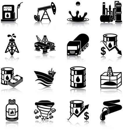 Iconos de la Industria Petrolera Ilustración de vector