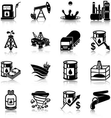 mining ship: Oil Industry Icons Illustration