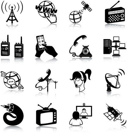 switchboard operator: Communication related icons Illustration