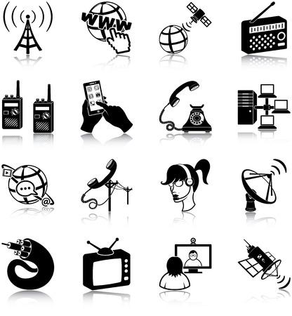 telephone switchboard: Communication related icons Illustration