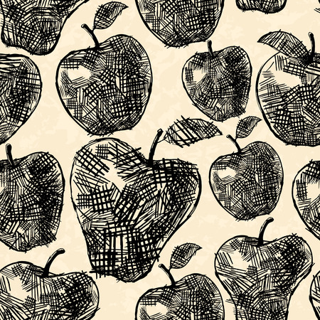cross hatching: Apples seamless pattern in hand drawn style Illustration