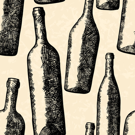 cross hatching: Bottles seamless pattern in hand drawn style Illustration