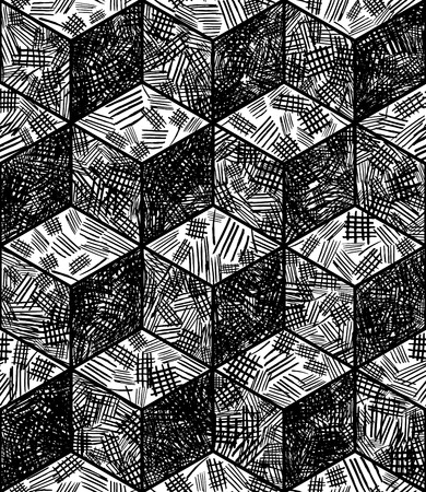 cross hatching: Cubes seamless pattern in hand drawn style