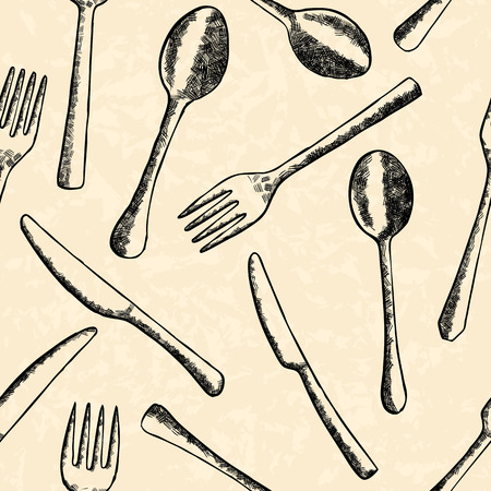 cross hatching: Cutlery seamless pattern in hand drawn style Illustration