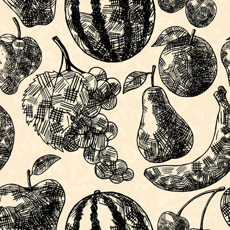 cross hatching: Fruits seamless pattern in hand drawn style Illustration