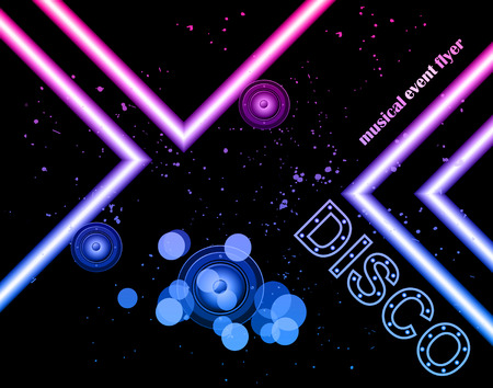 backdrop design: Disco club flayer with colorful elements. Ideal for poster and music background.