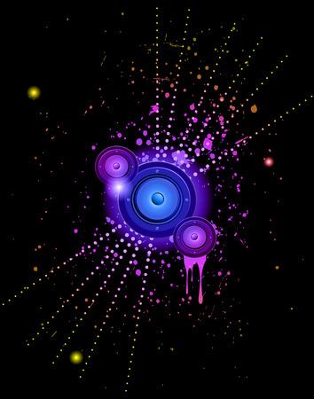 Disco club flayer con elementos coloridos. Ideal para el cartel y música de fondo.