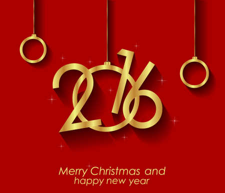 new sign: Merry Christmas and  New Year Background for your  invitations, festive poster. Illustration