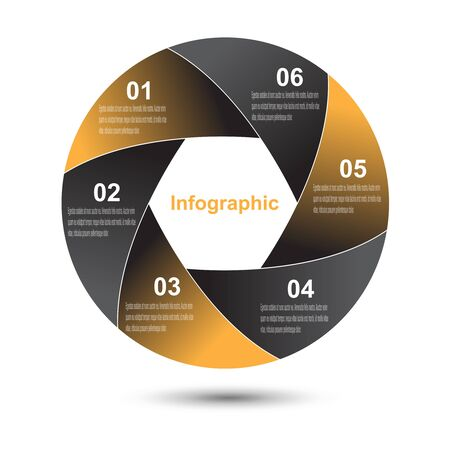 circle shape: Abstract info-graphic in a circle shape.