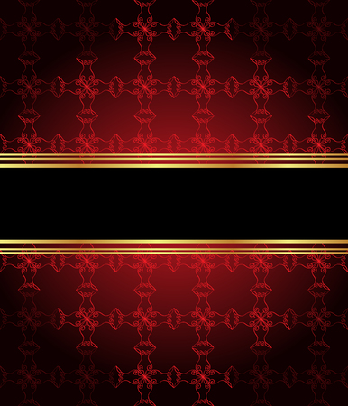 red wallpaper: Elegant seamless wallpaper with golden fine decoration and place for your text. Layout with space for classic invitation, flayer or cards.