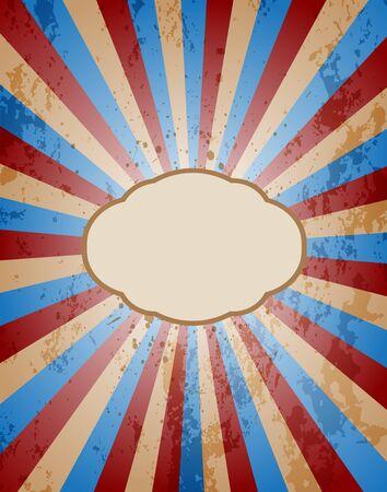 flayer: Vintage sunburst background with grunge texture.