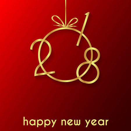 2018 Happy new year background for your flayer and greeting card. Illustration