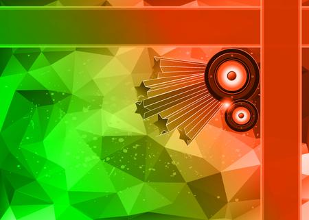 Disco club flayer con elementi colorati. Ideale per sfondo poster e musica. Vettoriali