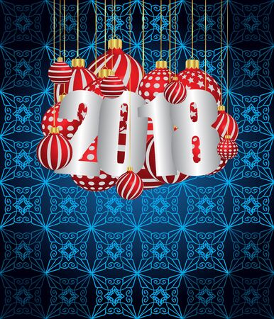 2018 New Year design template with Christmas balls decoration for Greetings Card or Christmas Card. Illustration