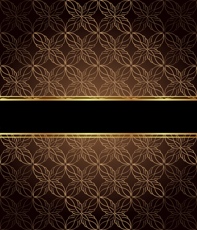 Elegant wallpaper with golden fine decoration and place for your text. Layout with space for classic invitation  flyer or cards.