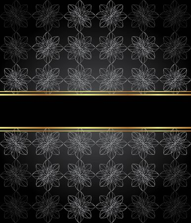 Elegant wallpaper with golden fine decoration and place for your text. Layout with space for classic invitation flayer or cards.  イラスト・ベクター素材
