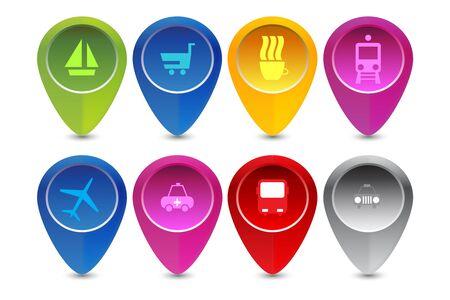 Map pointer for transport. Illustration