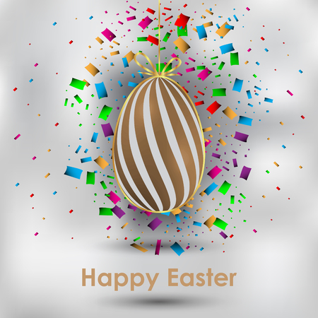 Happy Easter background: Brown egg with white spiral design and  confetti