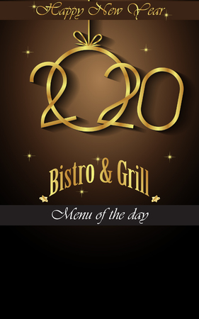 2020 Happy new year restaurant menu template for your seasonal flayers or  invitations background.