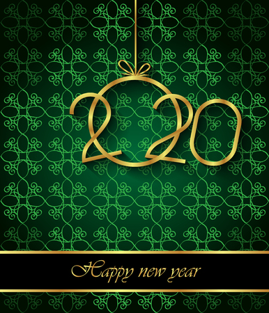 2020 Happy New Year background for your seasonal invitations, festive posters, greetings cards. Banco de Imagens - 121863703