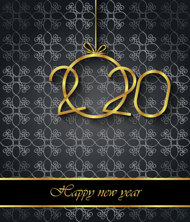 2020 Happy New Year background for your seasonal invitations, festive posters, greetings cards. Banco de Imagens - 121863739