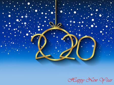 2020 Feliz año nuevo para tus invitaciones de temporada Ilustración de vector