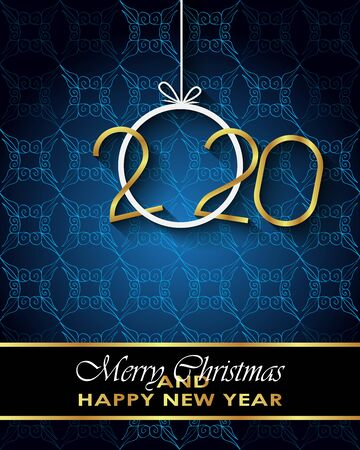 2020 Merry Christmas background for your seasonal invitations, festival posters, greetings cards. Vector Illustration