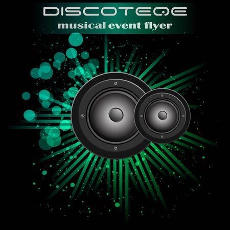 Disco club flyer with colorful elements. Ideal for poster and music background.