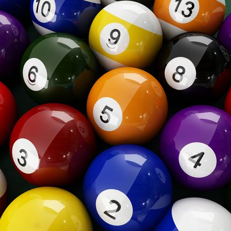 pool halls: 3d rendering of Pool Balls Stock Photo