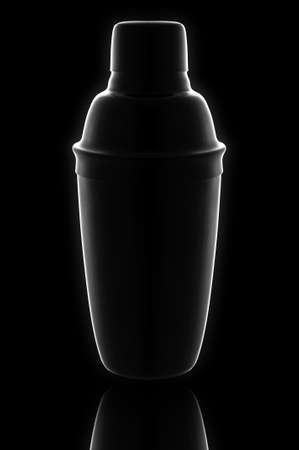 cocktail shaker: High impact image of a cocktail shaker with reflection on black, with a slight glow