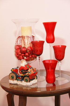 table decoration: Christmas table decoration Stock Photo