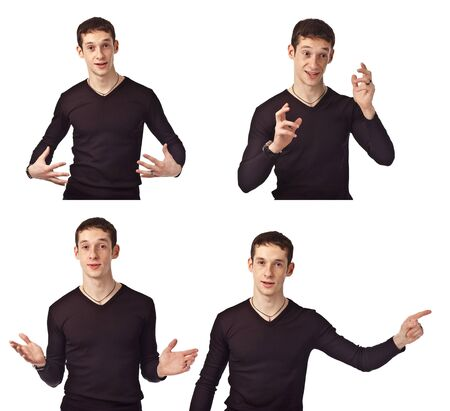 gestures: Portrait adult guy on isolate background Stock Photo