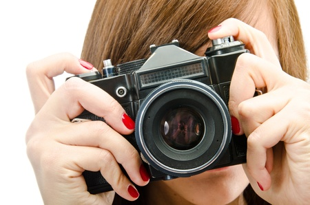 Portrait of woman using reflex digital camera  Stock Photo - 11813997