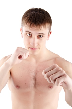 young man boxer on the white background  photo