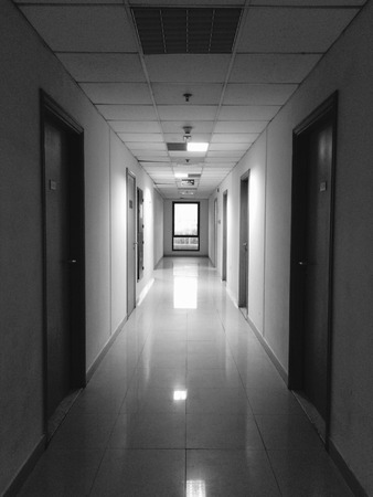 A long corridor inside the residential complex