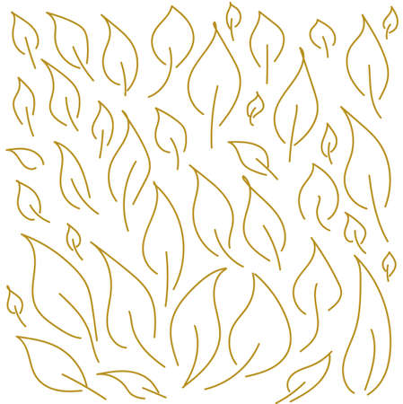 set of vector golden linear leaves isolated Ilustracja