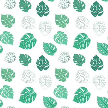 Vector seamless pattern with green tropical leaves Stock fotó - 157841288