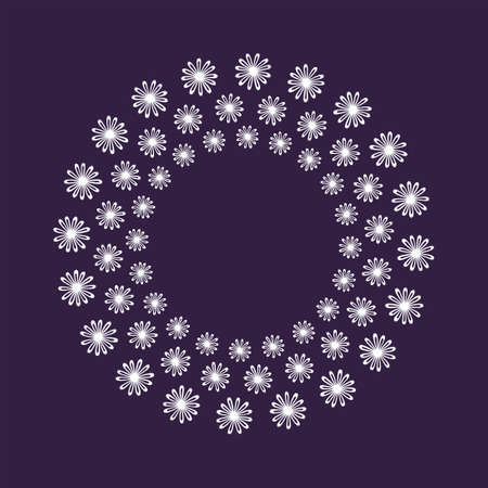 Natural vector frame. White leaves on dark purple background template. Template for greeting card, invitation, poster