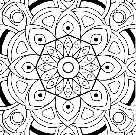Floral symmetrical coloring antistress. Ethnic drawing, mandala. Linear vector pattern.