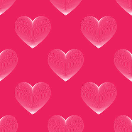Vector seamless pattern linear heart. Happy Valentine's Day. Love.