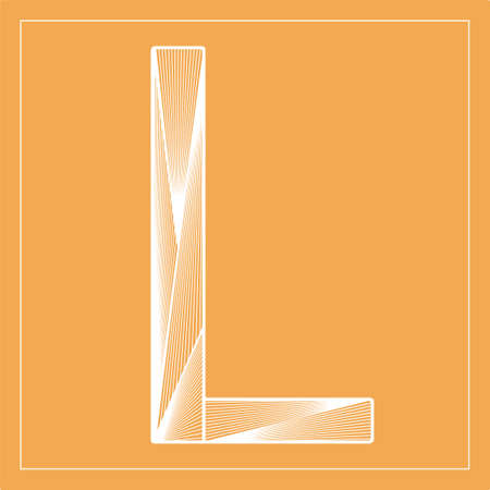 Decorative vector font. Beautiful stylized letter L. Isolated white linear symbol on orange background. Can be used for posters, decorative lettering, embossing template.