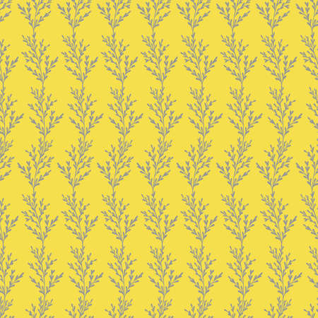 Vector seamless floral pattern. Gray contouring elements on a yellow background. Ilustrace