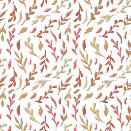 Natural vector seamless pattern leaves color elements on white background