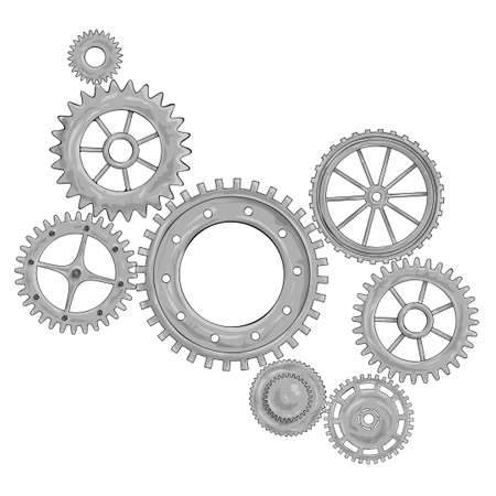 Vector illustration of a gear. Gray round gear elements of the mechanism. Group silver isolated details. Engineering mechanism, equipment