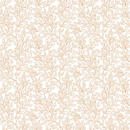 Vector natural seamless pattern. Contour floral pattern. Monochrome background with leaves Vecteurs