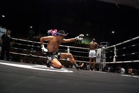 BANGKOK, THAILAND- SEPTEMBER 25: Unidentified players in Thai Fight : Muay Thai.World