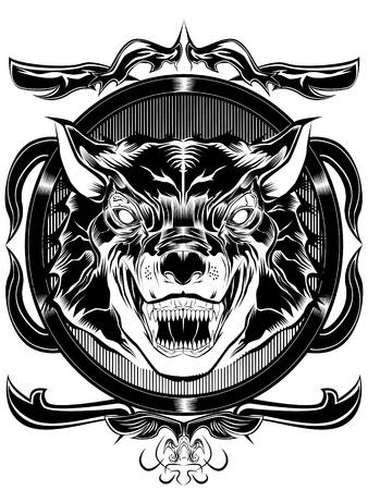 늑대: 이 흰색과 검은 색의 프레임에 늑대의 그림입니다 일러스트
