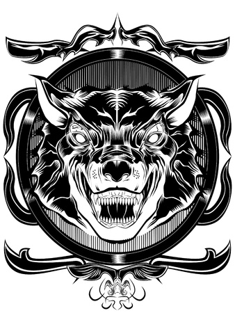 black wolf: this is a illustration of wolf on frame in white and black color
